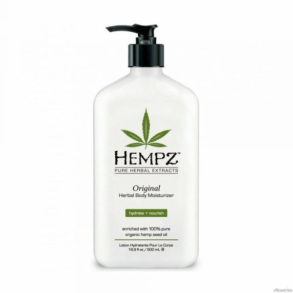 Hempz Original Body Lotion Hempz Original Herbal Body Moisturizer is enriched with 100% Pure Organic Hemp Seed Oil and blended with natural extracts to provide dramatic skin hydration and nourishment to help improve the health and condition of skin. Hemp Seed Oil is one of nature's richest sources of Essential Fatty Acids and Key Amino Acids containing natural proteins, vitamins, antioxidants, and minerals, vital for healthy skin conditioning. Paraben Free. Gluten Free. 100% Vegan.
