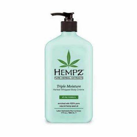 Hempz Triple Moisture Herbal Whipped Body Creme is enriched with 100% Pure Natural Hemp Seed Oil and fortified with their exclusive all day Triple Moisture Complex of hydrating Yangu Oil, Vitamin rich, anti-aging Apple Fruit Extract and Potassium rich Cogon Grass Extract. This signature Triple Moisture Whipped Body Creme provides deep 24-hour moisturization that softens even the driest skin.