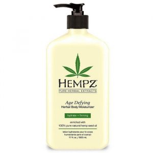 Hempz Age Defying Herbal Body Moisturizer is enriched with 100% Pure Organic Hemp Seed Oil and blended with natural extracts to provide dramatic skin hydration and nourishment to help improve the health and condition of skin. Hemp Seed Oil is one of nature¿s richest sources of Essential Fatty Acids and Key Amino Acids containing natural proteins, vitamins, antioxidants, and minerals, vital for healthy skin conditioning.